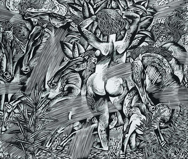 艺术家: 康宁;   康宁版画展; 康宁的木刻版画以题材丰富