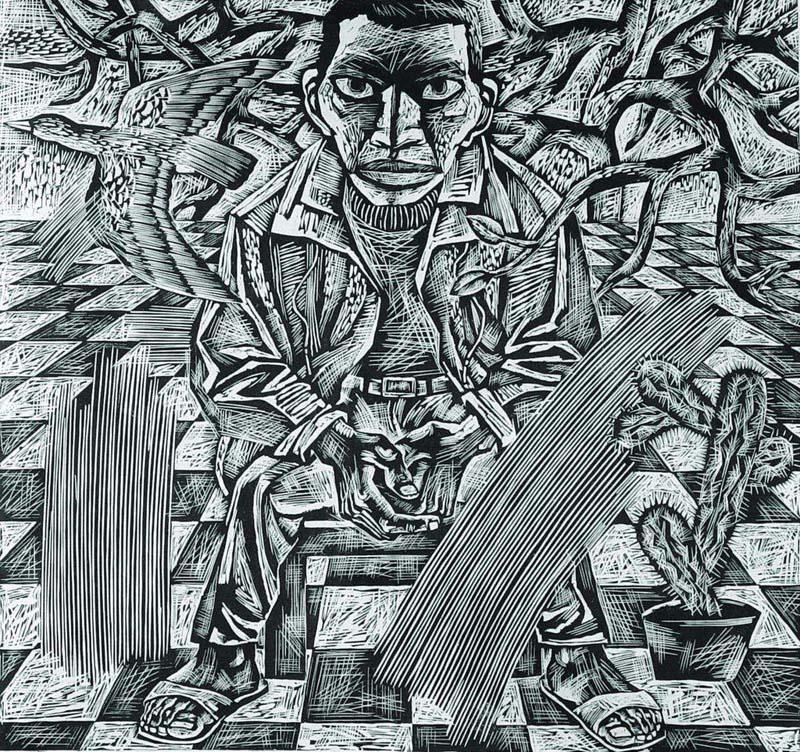 康宁的黑白木刻版画;;