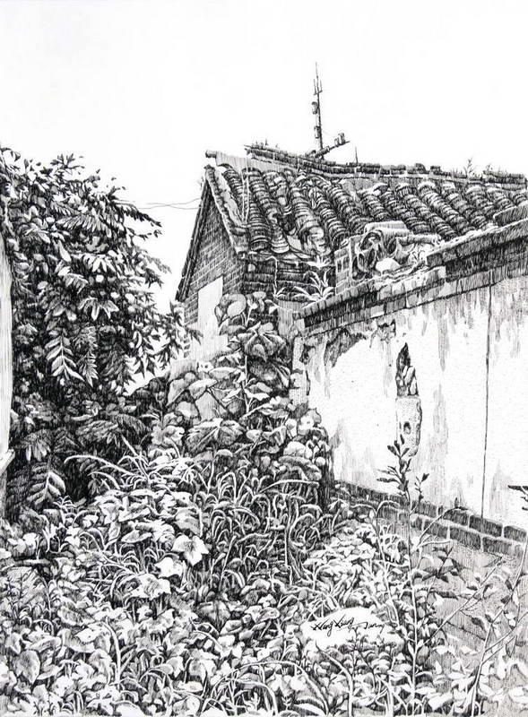 所城里老房子写实钢笔画;; 在那方难忘的故土上——王相俊钢笔画展
