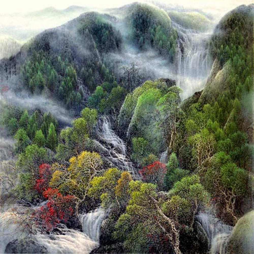 山川风景国画图片