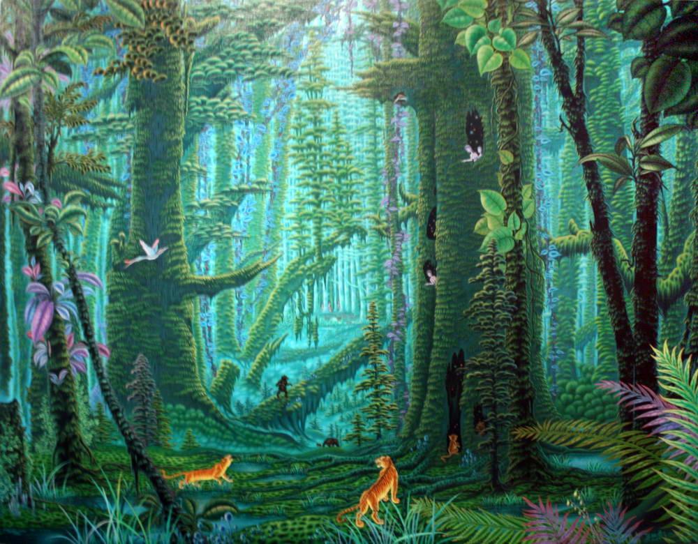 热带森林手绘油画